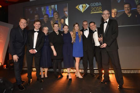 Team winning the GDB Award for employer of the year 2018